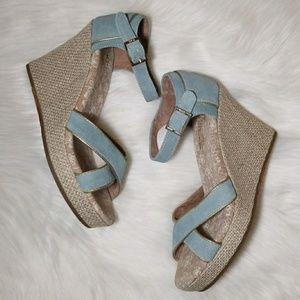 Toms Light Blue Suede Espadrille Wedding Sandal